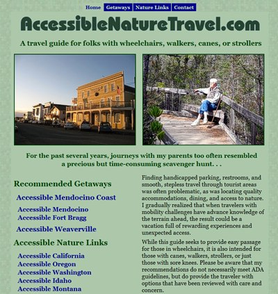Accessible Nature Travel: a travel guide -- website design and maintenance by Sienna M Potts