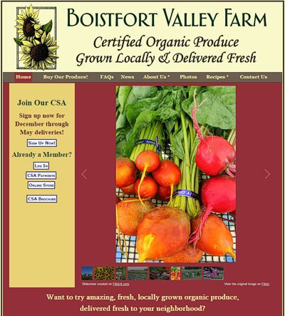 Boistfort Valley Farm: Certified Organic Produce -- website design and maintenance by Sienna M Potts