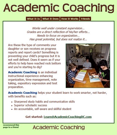 Academic Coaching: helping students develop confidence and independence -- website design and maintenance by Sienna M Potts