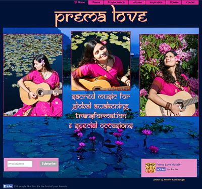Prema Love: Devotional Heart Songs & Sacred Healing Chants -- website design and maintenance by Sienna M Potts