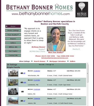 Bethany Bonner Homes: Boston and Norfolk County -- website design and maintenance by Sienna M Potts