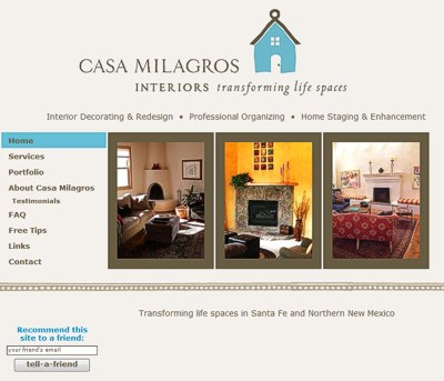 Casa Milagros Interiors: Transforming life spaces in Santa Fe -- website design and maintenance by Sienna M Potts