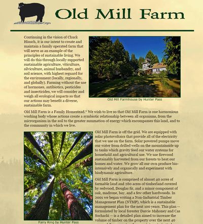 Old Mill Farm: a family farm on the Mendocino Coast -- website design and maintenance by Sienna M Potts