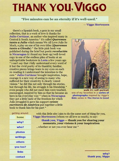 thank you, Viggo: my personal art gallery -- website design and maintenance by Sienna M Potts