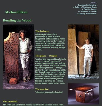 Michael Elkan: Reading the Wood -- website design and maintenance by Sienna M Potts